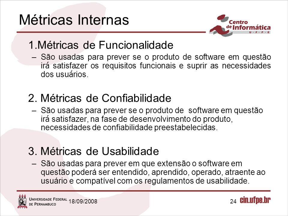 18/09/200824 Métricas Internas 1.Métricas de Funcionalidade –São usadas para prever se o produto de software em questão ir á satisfazer os requisitos funcionais e suprir as necessidades dos usu á rios.