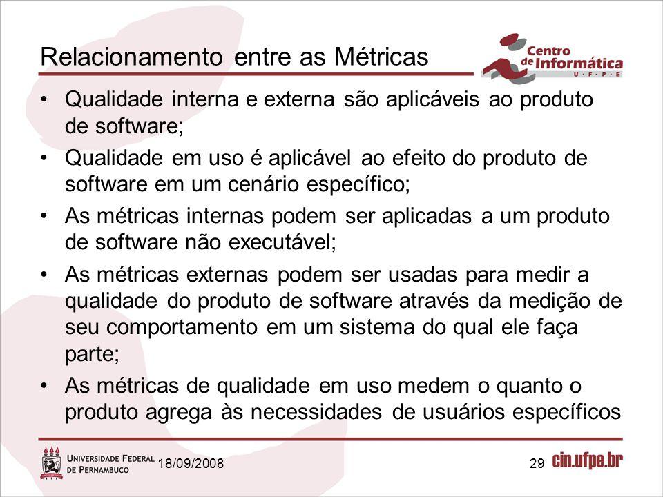 18/09/200829 Relacionamento entre as Métricas Qualidade interna e externa são aplicáveis ao produto de software; Qualidade em uso é aplicável ao efeit