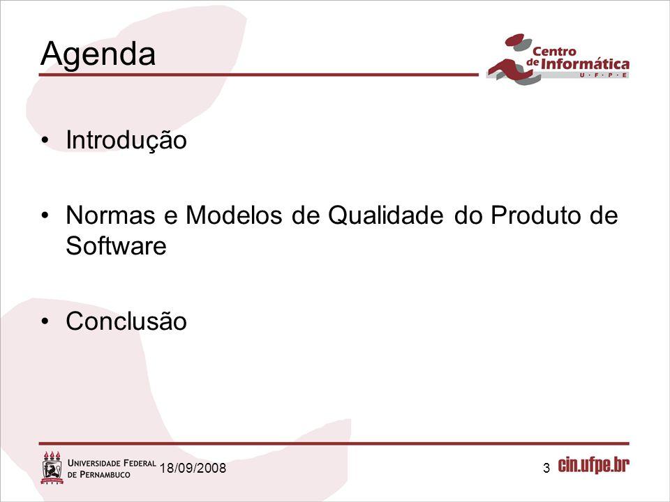 18/09/20084 Introdução Preocupação com a melhoria da qualidade de produto e de serviço; Avaliação de produtos através de algum tipo de certificação emitida com base numa padronização; A ISO lançou um conjunto de normas de qualidade.