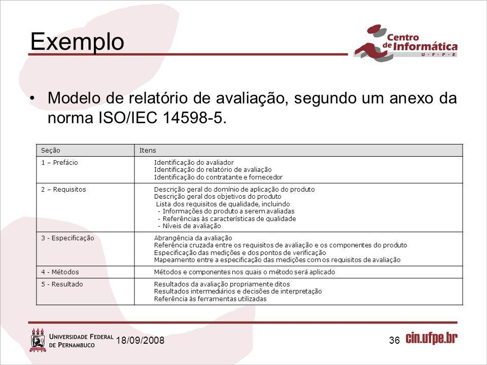 18/09/200836 Exemplo Modelo de relatório de avaliação, segundo um anexo da norma ISO/IEC 14598-5. SeçãoItens 1 – Prefácio Identificação do avaliador I