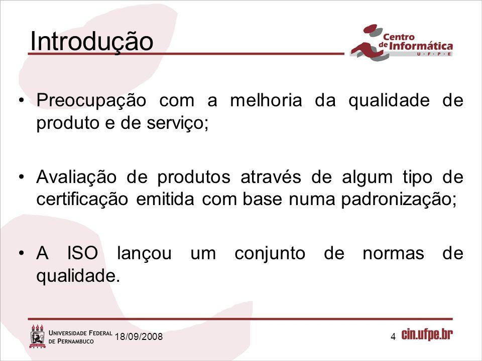 18/09/20084 Introdução Preocupação com a melhoria da qualidade de produto e de serviço; Avaliação de produtos através de algum tipo de certificação em