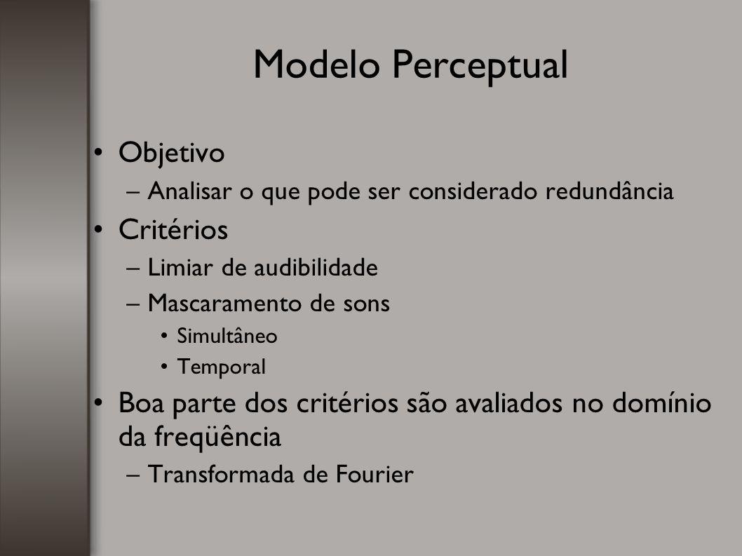 Modelo Perceptual Objetivo –Analisar o que pode ser considerado redundância Critérios –Limiar de audibilidade –Mascaramento de sons Simultâneo Tempora