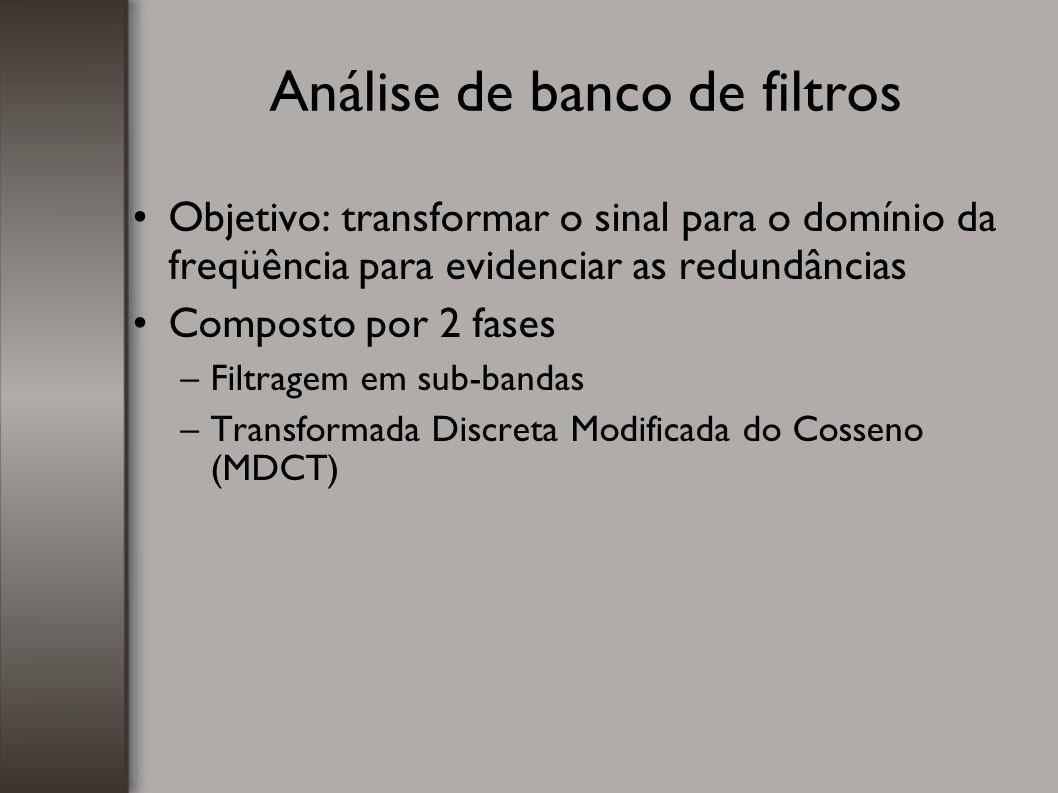 Análise de banco de filtros Objetivo: transformar o sinal para o domínio da freqüência para evidenciar as redundâncias Composto por 2 fases –Filtragem
