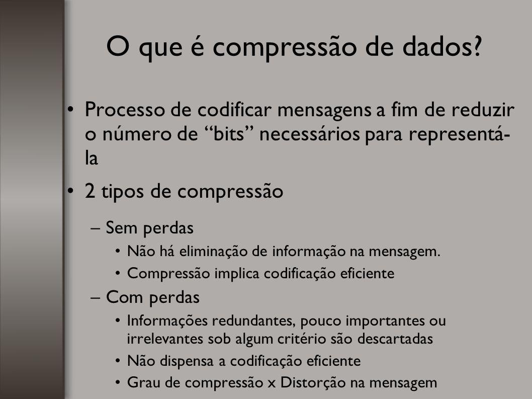 """O que é compressão de dados? Processo de codificar mensagens a fim de reduzir o número de """"bits"""" necessários para representá- la 2 tipos de compressão"""