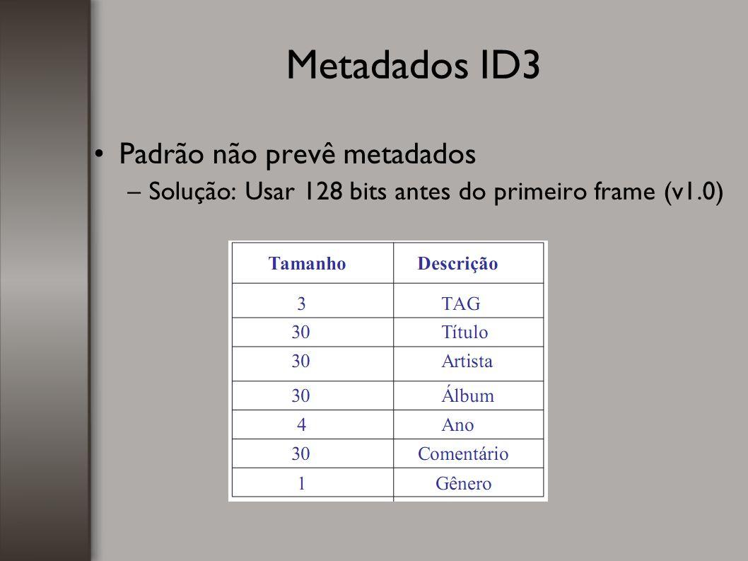 Metadados ID3 Padrão não prevê metadados –Solução: Usar 128 bits antes do primeiro frame (v1.0) 