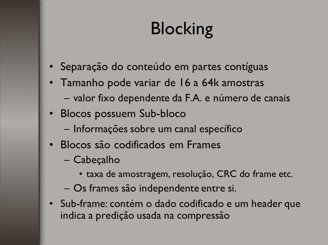 Blocking Separação do conteúdo em partes contíguas Tamanho pode variar de 16 a 64k amostras –valor fixo dependente da F.A. e número de canais Blocos p