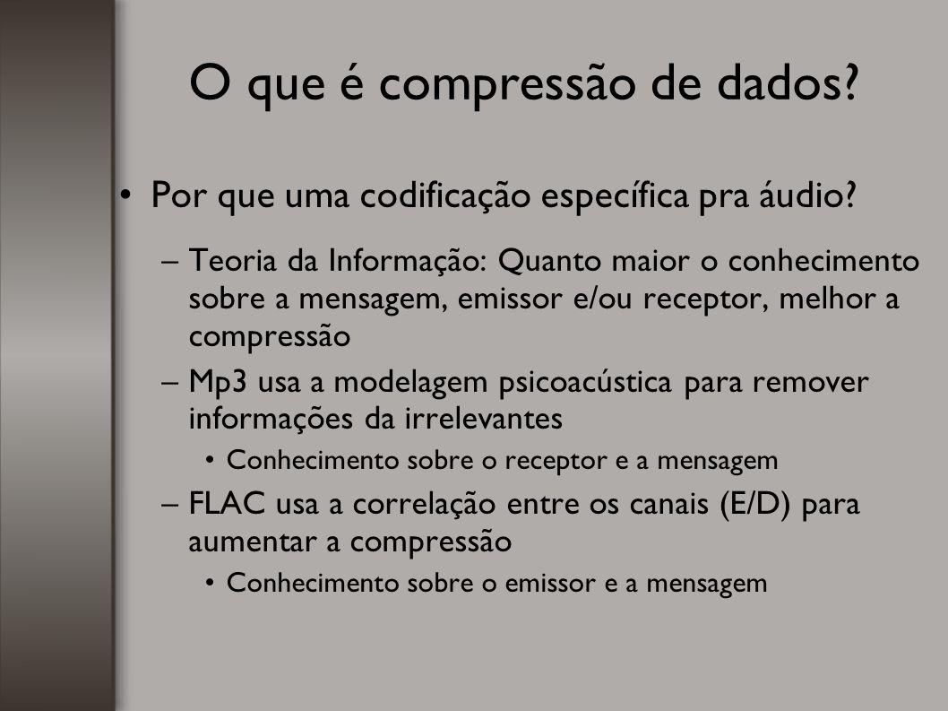 O que é compressão de dados? Por que uma codificação específica pra áudio? –Teoria da Informação: Quanto maior o conhecimento sobre a mensagem, emisso