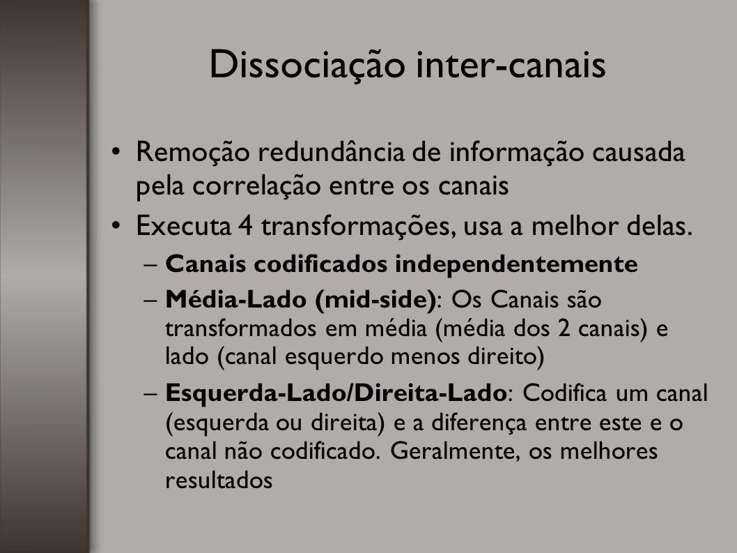 Dissociação inter-canais Remoção redundância de informação causada pela correlação entre os canais Executa 4 transformações, usa a melhor delas. –Cana