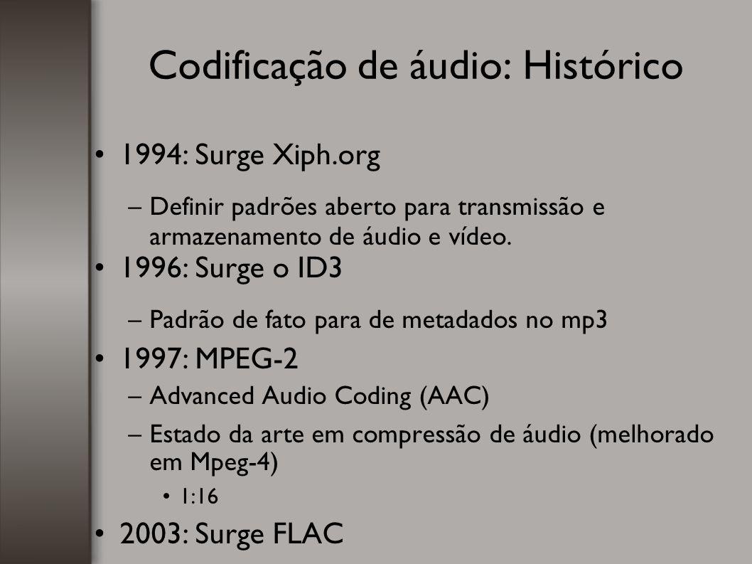 Codificação de áudio: Histórico 1994: Surge Xiph.org –Definir padrões aberto para transmissão e armazenamento de áudio e vídeo. 1996: Surge o ID3 –Pad