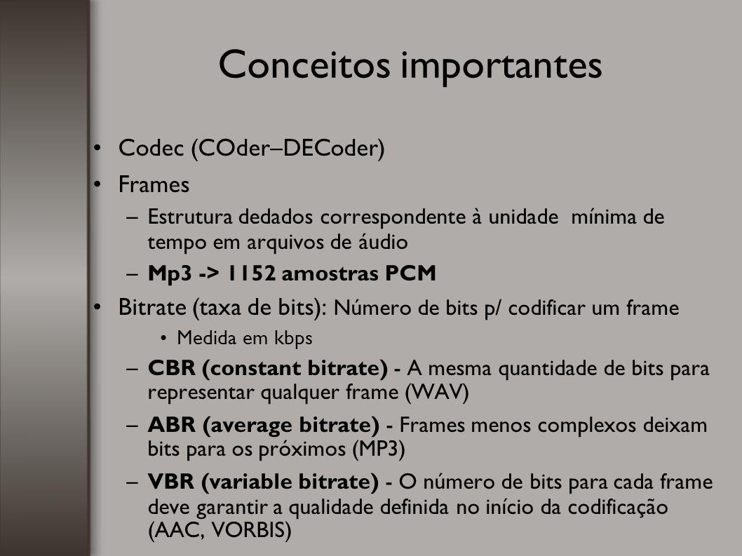 Codec (COder–DECoder)  Frames –Estrutura dedados correspondente à unidade mínima de tempo em arquivos de áudio –Mp3 -> 1152 amostras PCM Bitrate (tax