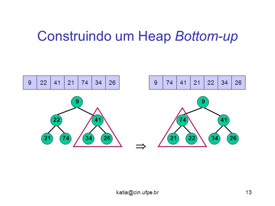 katia@cin.ufpe.br13 Construindo um Heap Bottom-up  7421 22 2634 41 9 7422412193426 2221 74 2634 41 9 7422412193426