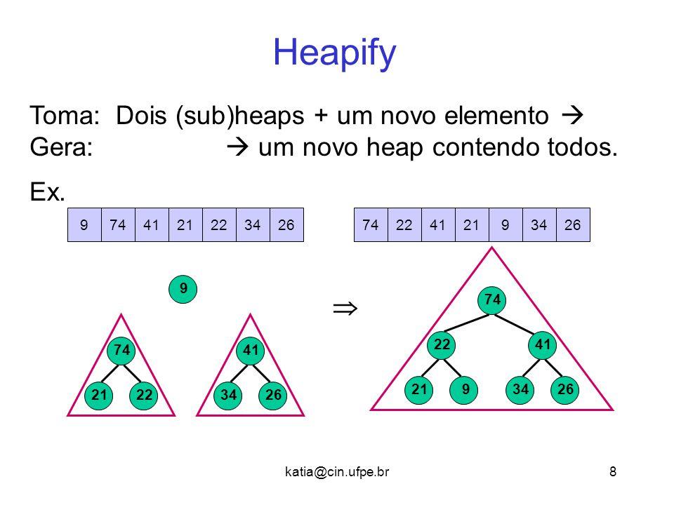 katia@cin.ufpe.br8 Heapify 9 921 22 2634 41 74 Toma: Dois (sub)heaps + um novo elemento  Gera:  um novo heap contendo todos. Ex. 7422412193426742241
