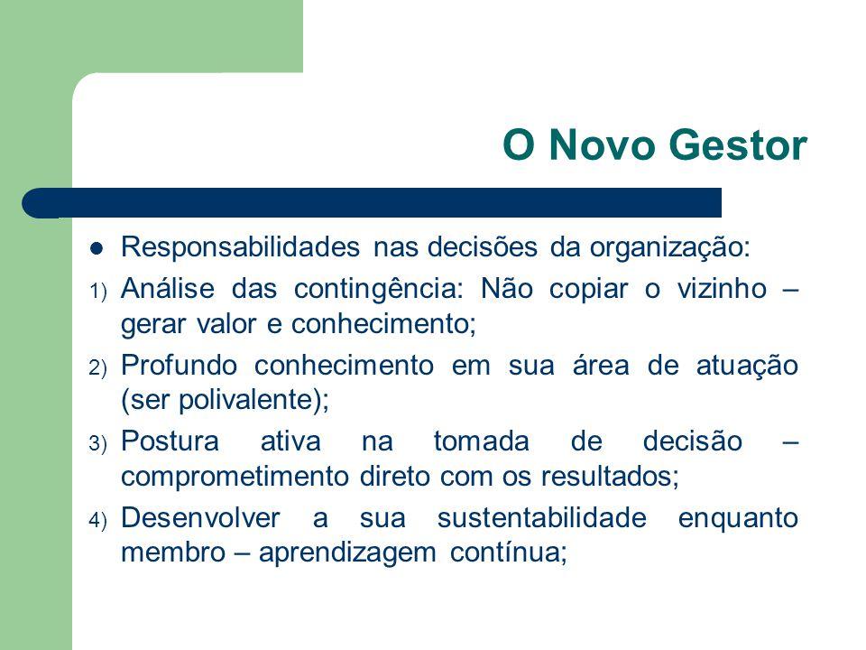 O Novo Gestor Responsabilidades nas decisões da organização: 1) Análise das contingência: Não copiar o vizinho – gerar valor e conhecimento; 2) Profun