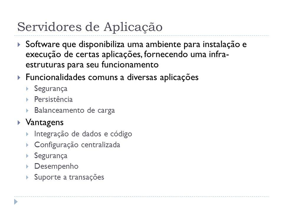 Servidores de Aplicação  Software que disponibiliza uma ambiente para instalação e execução de certas aplicações, fornecendo uma infra- estruturas pa
