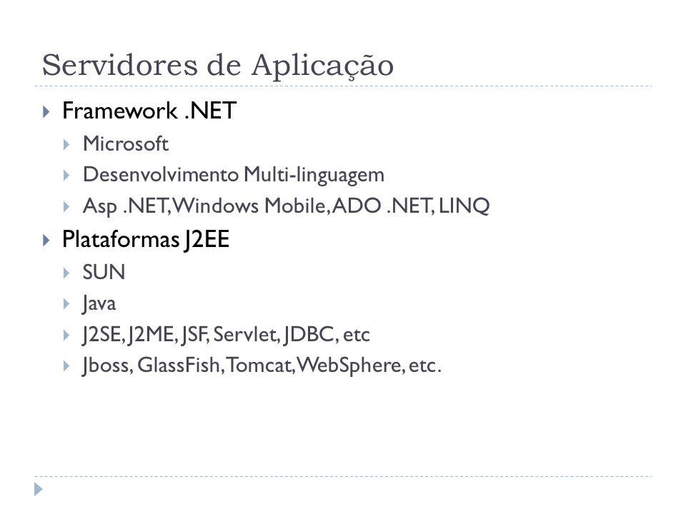 Servidores de Aplicação  Framework.NET  Microsoft  Desenvolvimento Multi-linguagem  Asp.NET, Windows Mobile, ADO.NET, LINQ  Plataformas J2EE  SU