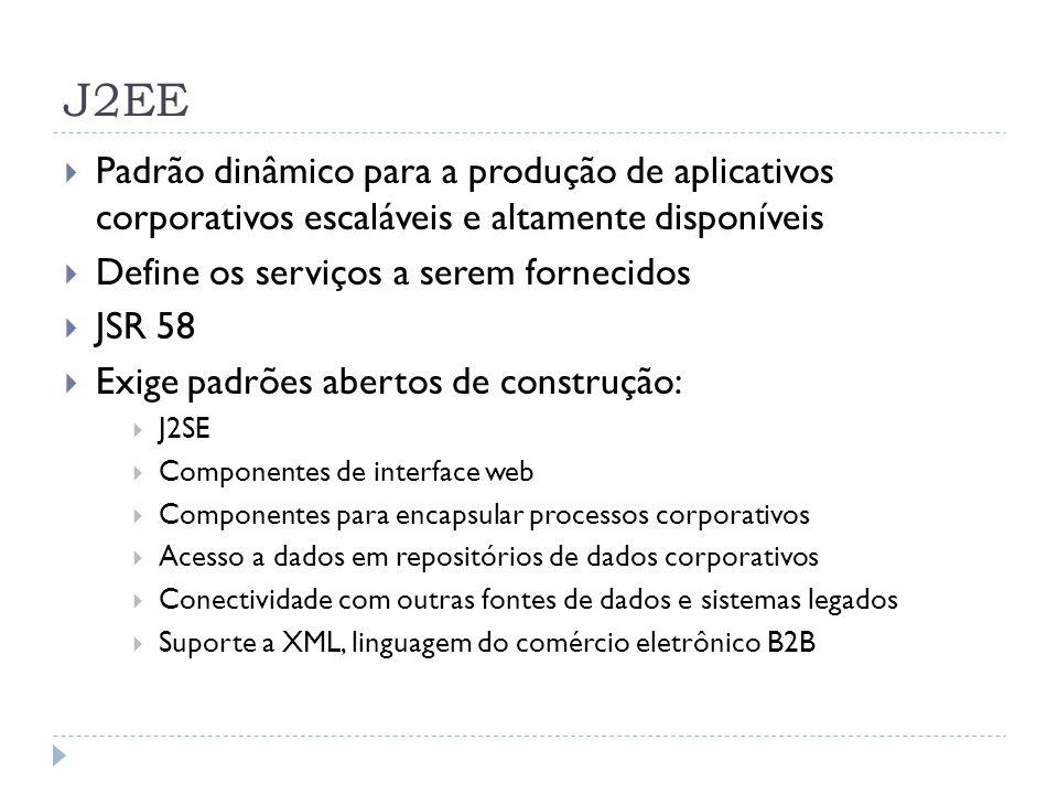 J2EE  Padrão dinâmico para a produção de aplicativos corporativos escaláveis e altamente disponíveis  Define os serviços a serem fornecidos  JSR 58