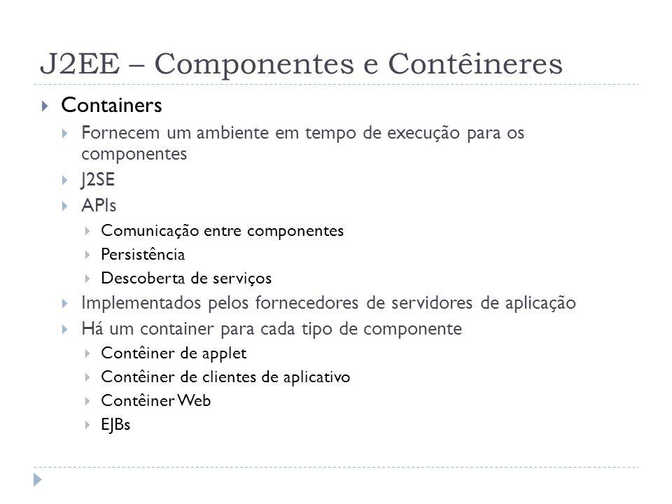 J2EE – Componentes e Contêineres  Containers  Fornecem um ambiente em tempo de execução para os componentes  J2SE  APIs  Comunicação entre compon