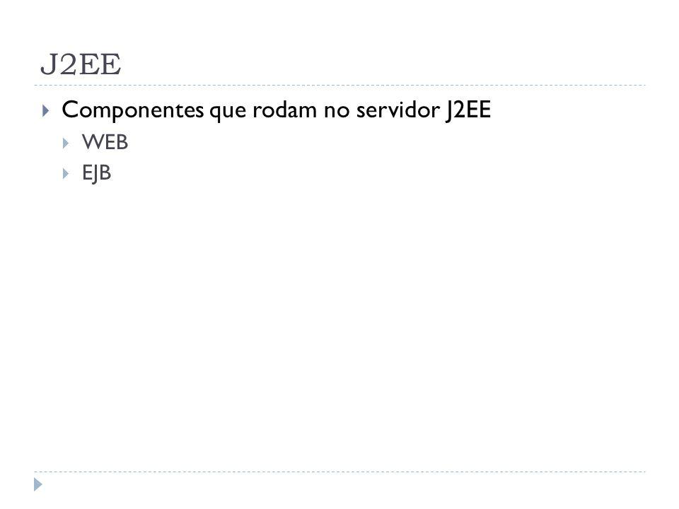 J2EE  Componentes que rodam no servidor J2EE  WEB  EJB