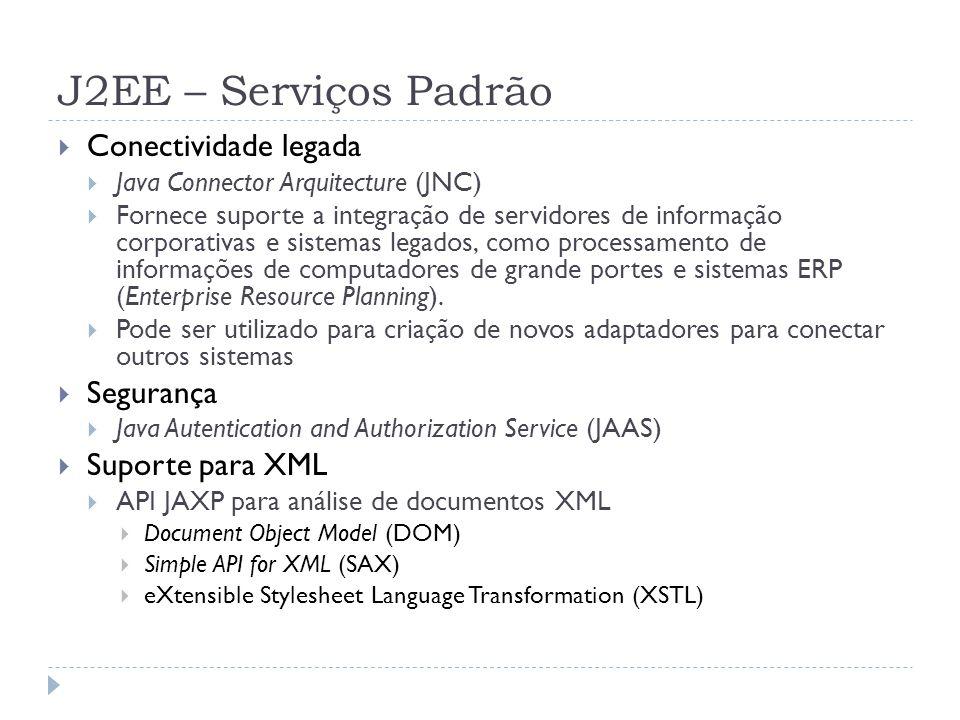 J2EE – Serviços Padrão  Conectividade legada  Java Connector Arquitecture (JNC)  Fornece suporte a integração de servidores de informação corporati