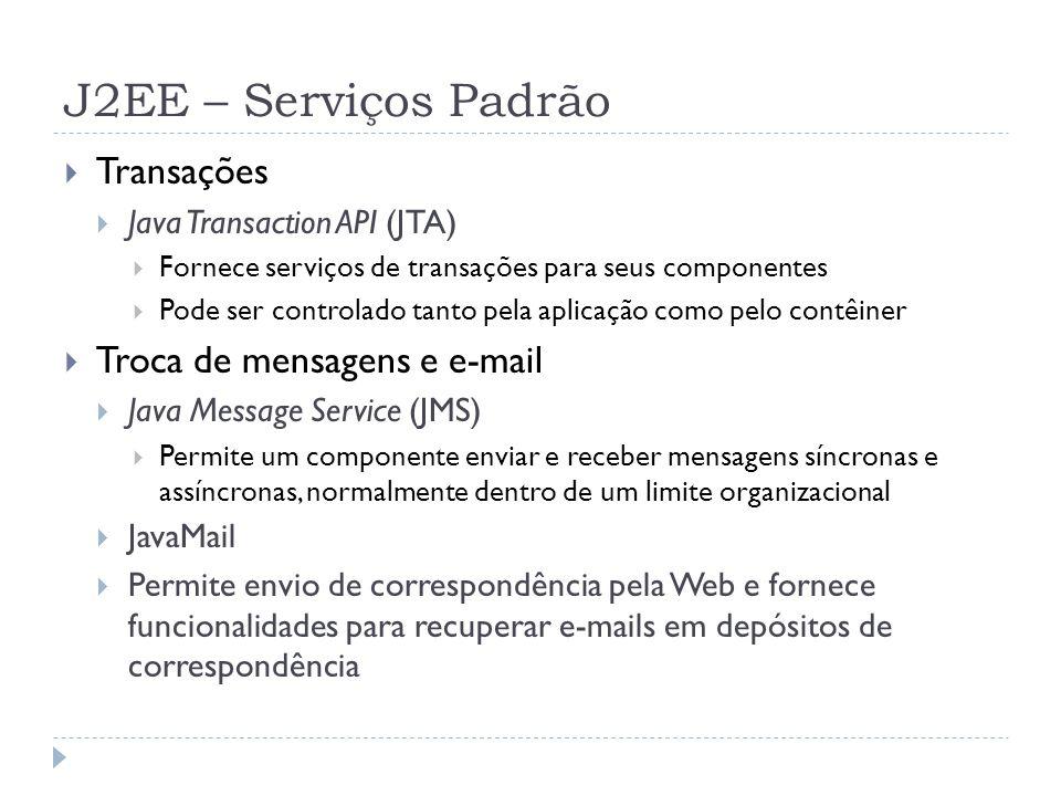 J2EE – Serviços Padrão  Transações  Java Transaction API (JTA)  Fornece serviços de transações para seus componentes  Pode ser controlado tanto pe