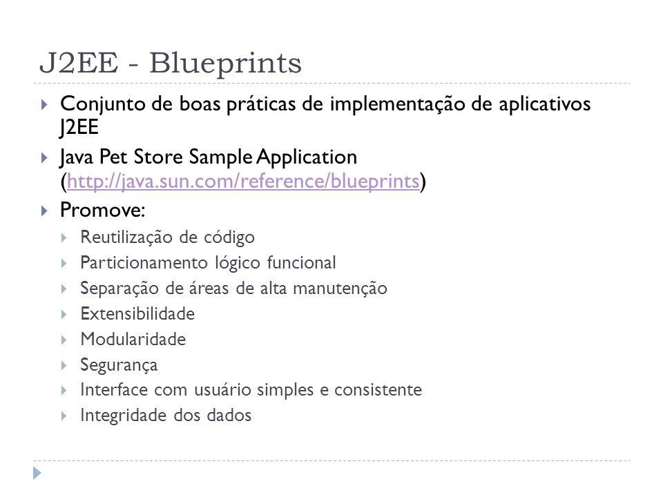 J2EE - Blueprints  Conjunto de boas práticas de implementação de aplicativos J2EE  Java Pet Store Sample Application (http://java.sun.com/reference/
