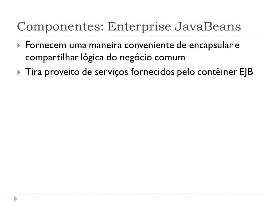 Componentes: Enterprise JavaBeans  Fornecem uma maneira conveniente de encapsular e compartilhar lógica do negócio comum  Tira proveito de serviços