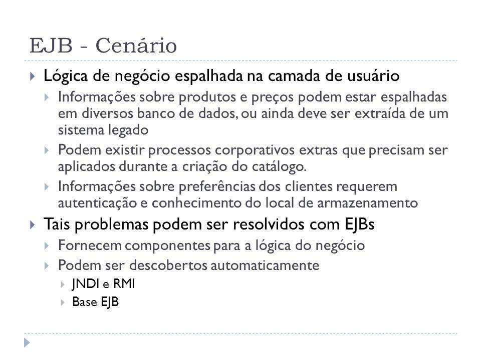 EJB - Cenário  Lógica de negócio espalhada na camada de usuário  Informações sobre produtos e preços podem estar espalhadas em diversos banco de dad
