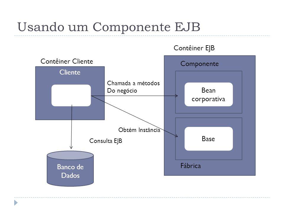 Usando um Componente EJB Cliente Bean corporativa Base Componente Contêiner EJB Fábrica Contêiner Cliente Banco de Dados Consulta EJB Obtém Instância