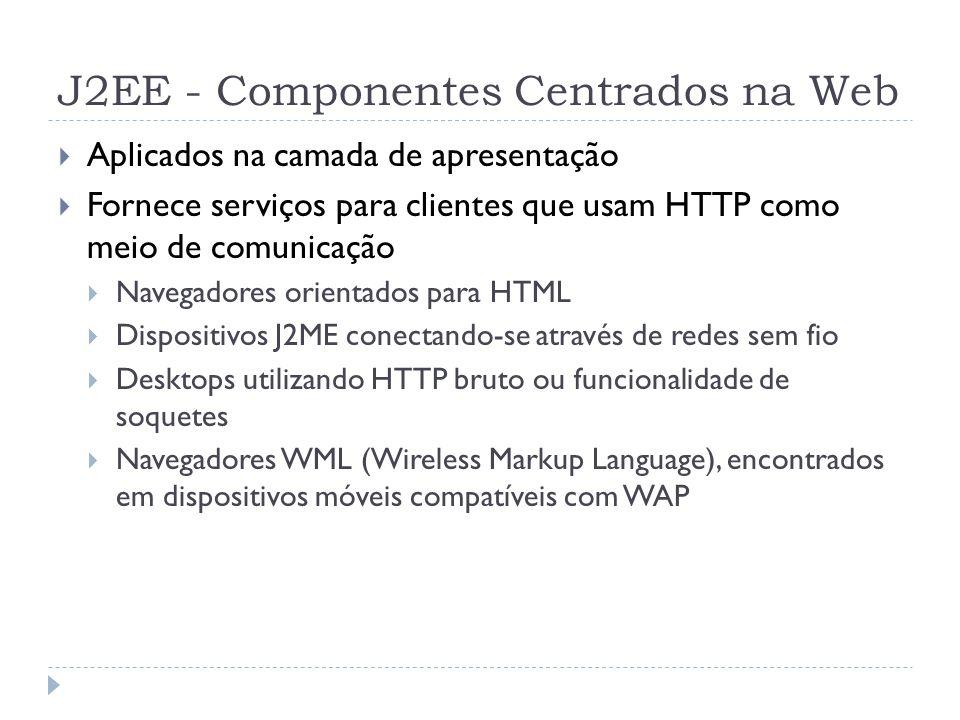 J2EE - Componentes Centrados na Web  Aplicados na camada de apresentação  Fornece serviços para clientes que usam HTTP como meio de comunicação  Na