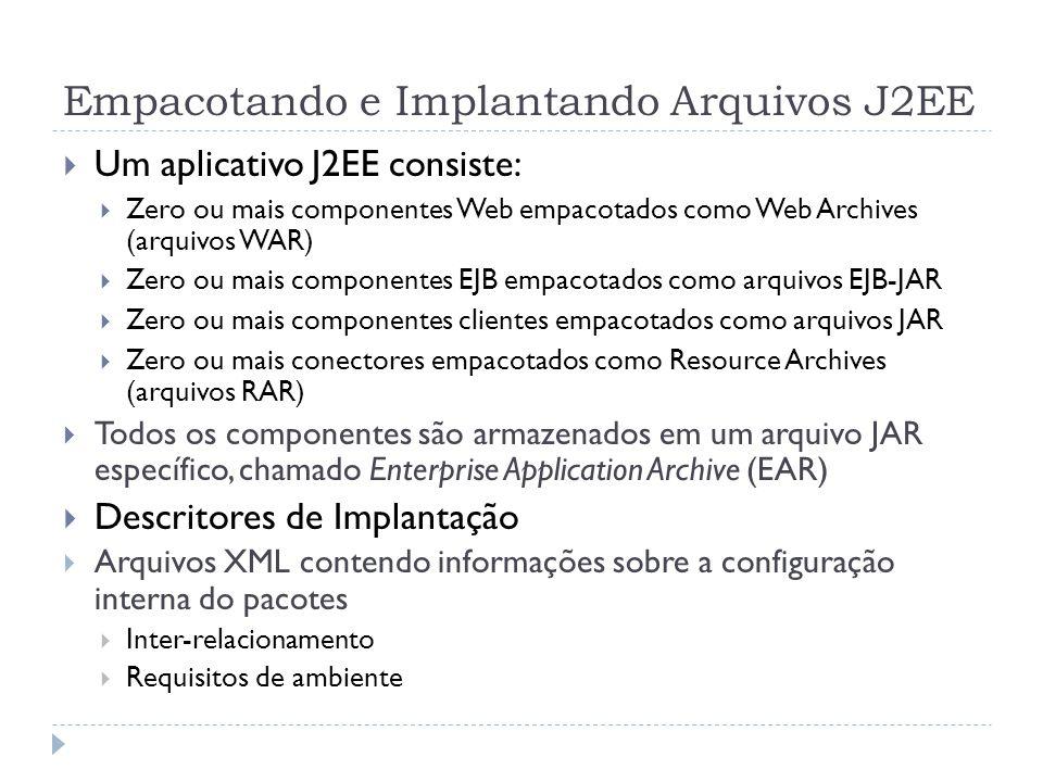 Empacotando e Implantando Arquivos J2EE  Um aplicativo J2EE consiste:  Zero ou mais componentes Web empacotados como Web Archives (arquivos WAR)  Z