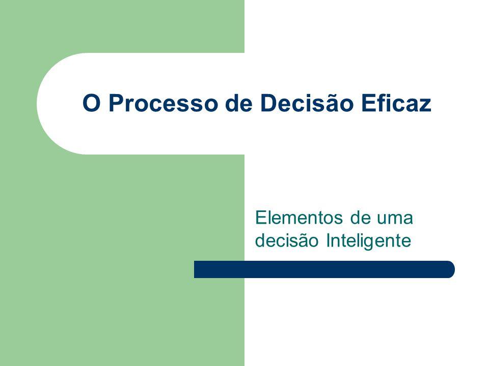 O Processo de Decisão Eficaz Alguns critérios para uma decisão eficaz: - Concentrar-se no que é importante: FOCO; - Ser lógico e coerente: administrar a emoção; - Reconhecer os fatores subjetivos e objetivos, combinando os pensamentos analítico e intuitivo; - Exigir apenas a quantidade de informação e a análise necessárias para resolver determinado dilema; - Estimular e guiar a obtenção de dados relevantes e opiniões bem informadas; - Ser direto, seguro, fácil e flexível;