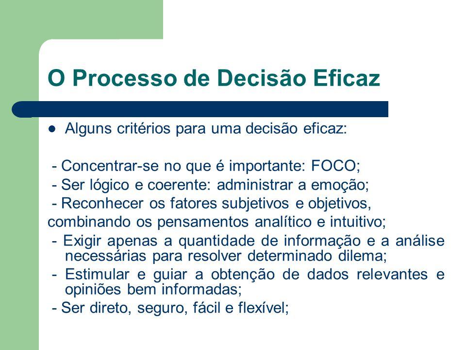 O Processo de Decisão Eficaz Oito elementos de uma decisão inteligente: 1 – Problema: trabalhe com o problema certo; 2 – Objetivos: defina os objetivos; 3 – Alternativas: crie alternativas; 4 – Conseqüências: compreenda previamente; 5 – Trocas: confronte itens de negociação; 6 – Incertezas: estabeleça suas incertezas; 7 – Tolerância a riscos: analise-as; 8 – Decisões interligadas: examine-as.