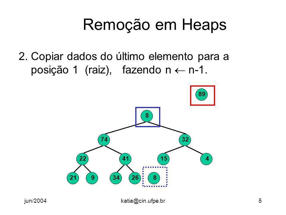 jun/2004katia@cin.ufpe.br6 Remoção em Heaps 3.Heapify a posição 1.