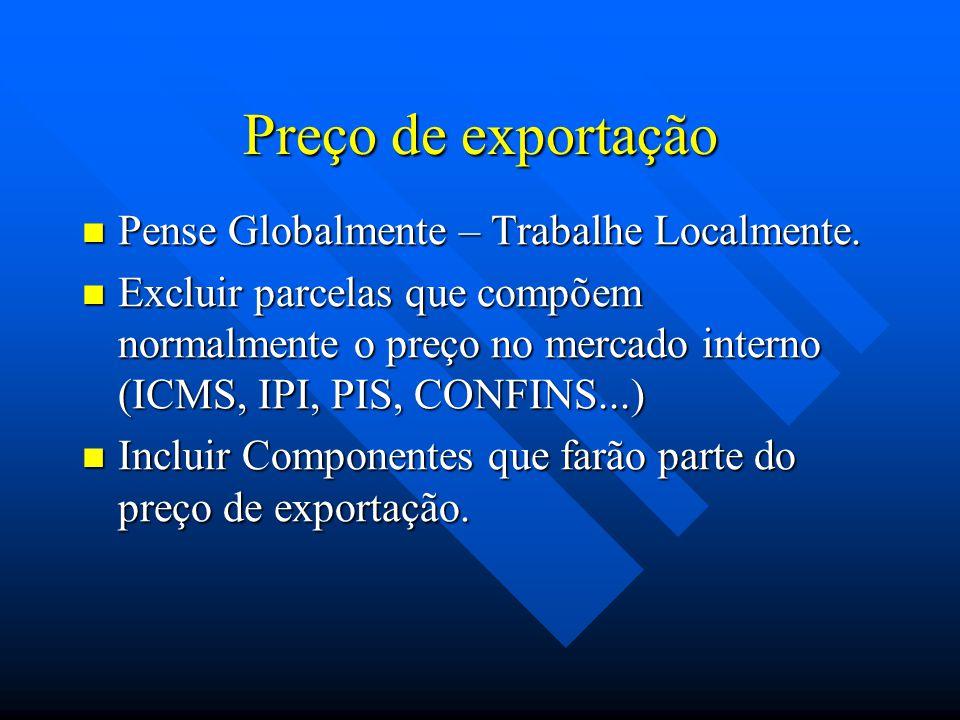 Preço de exportação Pense Globalmente – Trabalhe Localmente.