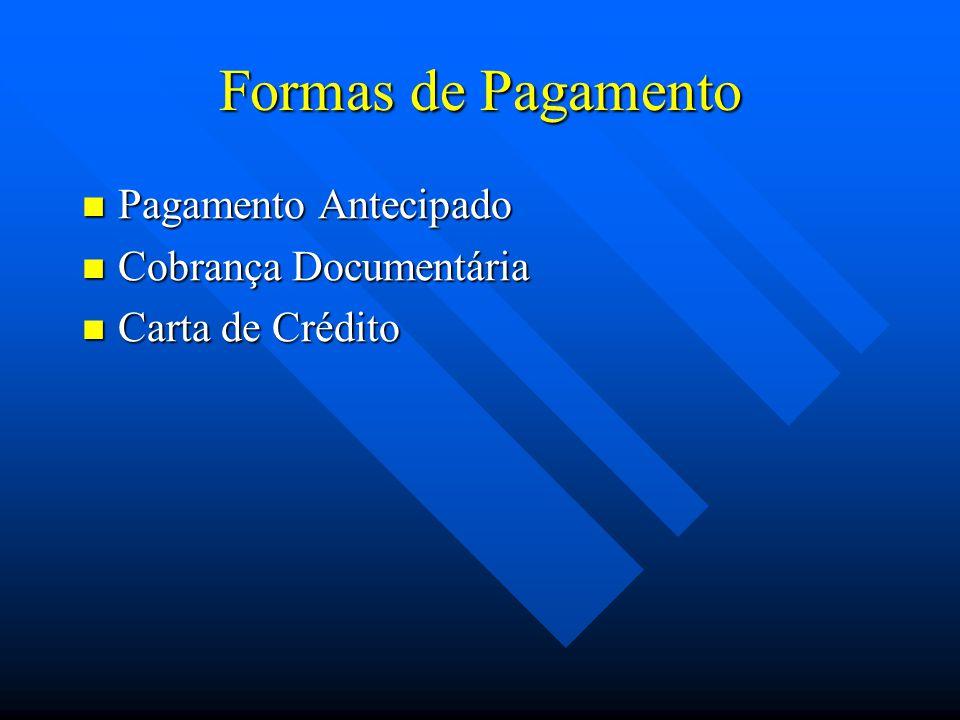 Formas de Pagamento Pagamento Antecipado Pagamento Antecipado Cobrança Documentária Cobrança Documentária Carta de Crédito Carta de Crédito