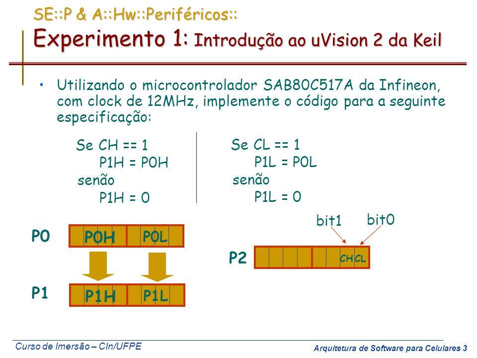 Curso de Imersão – CIn/UFPE Arquitetura de Software para Celulares 3 SE::P & A::Hw::Periféricos:: Experimento 1: Introdução ao uVision 2 da Keil Utili
