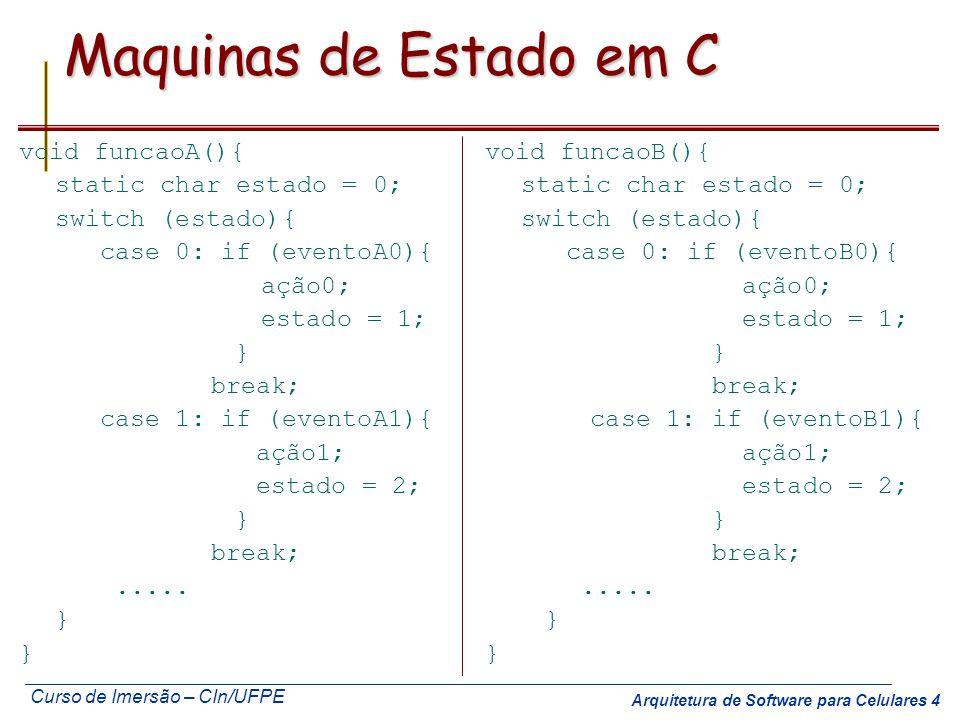 Curso de Imersão – CIn/UFPE Arquitetura de Software para Celulares 5 SE::P & A::Hw::Periféricos:: Experimento 2: Estados Usando o Infineon SAB80C517A, com 12MHz, implemente a especificação abaixo usando uma função para cada lado com o modelo de Maquinas de Estados (use switch) Se CL => 0 -> 1 P1L = P0L espere 1seg (use loop de software) independente do valor de CL faça P1L = 0 P1H P1L P0H P0L P0 P1 CL P2 CH bit0 bit1 Transição 0 1 Se CH => 0 -> 1 P1H = P0H espere 1seg (use loop de SW) independente do valor de CH, faça P1H = 0