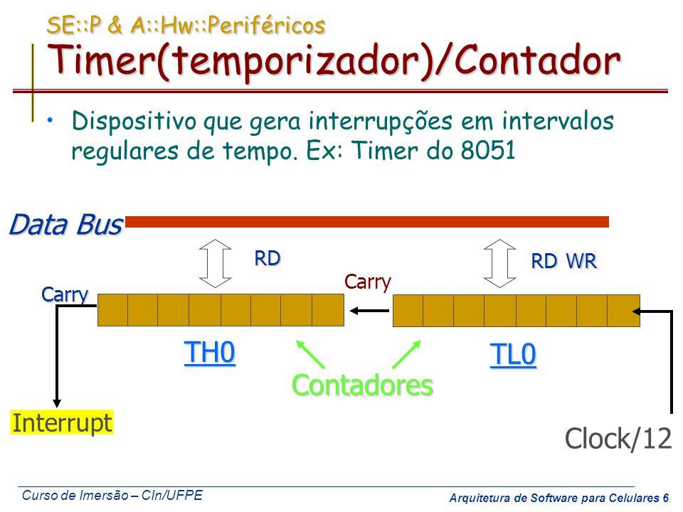 Curso de Imersão – CIn/UFPE Arquitetura de Software para Celulares 7 SE::P & A::Hw::Periféricos:: Experimento 3: Uso do Temporizador (Timer) Elimine o loop de software usado para contar o tempo no experimento 2.