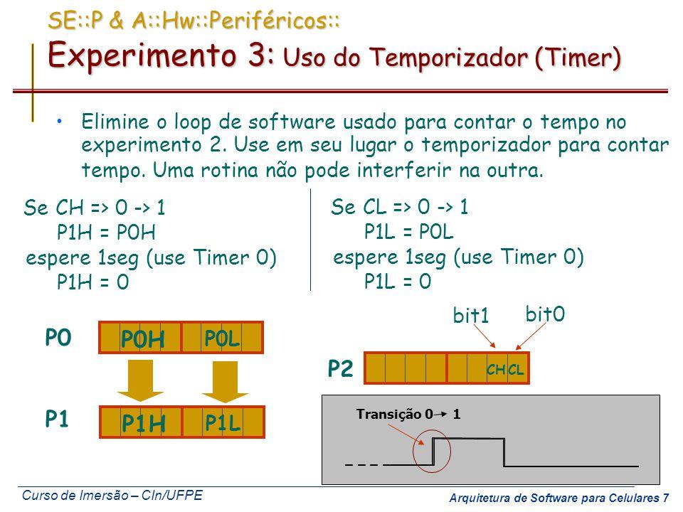 Curso de Imersão – CIn/UFPE Arquitetura de Software para Celulares 8 SE::P & A::Hw::Periféricos Interfaces Seriais Comunicação em que cada bit é enviado em seqüência por um único fio Registrador de Deslocamento Clock Data Bus Write