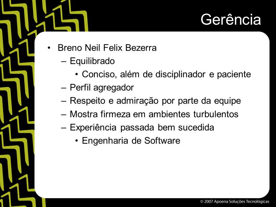 Gerência Breno Neil Felix Bezerra –Equilibrado Conciso, além de disciplinador e paciente –Perfil agregador –Respeito e admiração por parte da equipe –