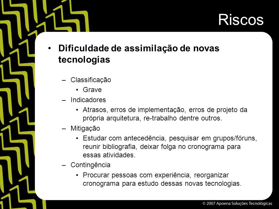 Riscos Dificuldade de assimilação de novas tecnologias –Classificação Grave –Indicadores Atrasos, erros de implementação, erros de projeto da própria