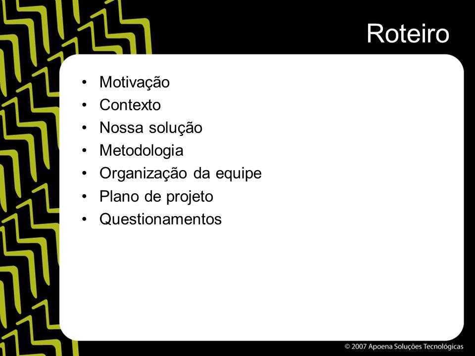 Roteiro Motivação Contexto Nossa solução Metodologia Organização da equipe Plano de projeto Questionamentos