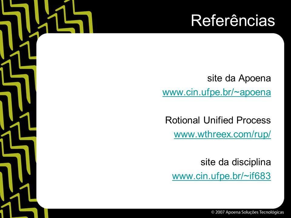 Referências site da Apoena www.cin.ufpe.br/~apoena Rotional Unified Process www.wthreex.com/rup/ site da disciplina www.cin.ufpe.br/~if683