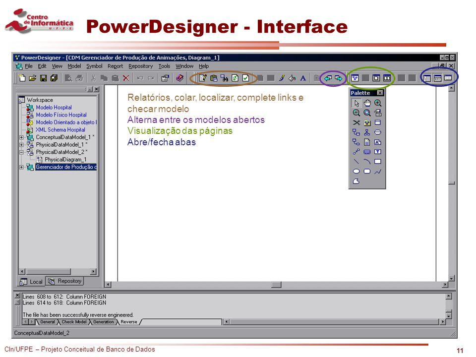 CIn/UFPE – Projeto Conceitual de Banco de Dados PowerDesigner - Interface 11 Relatórios, colar, localizar, complete links e checar modelo Alterna entr