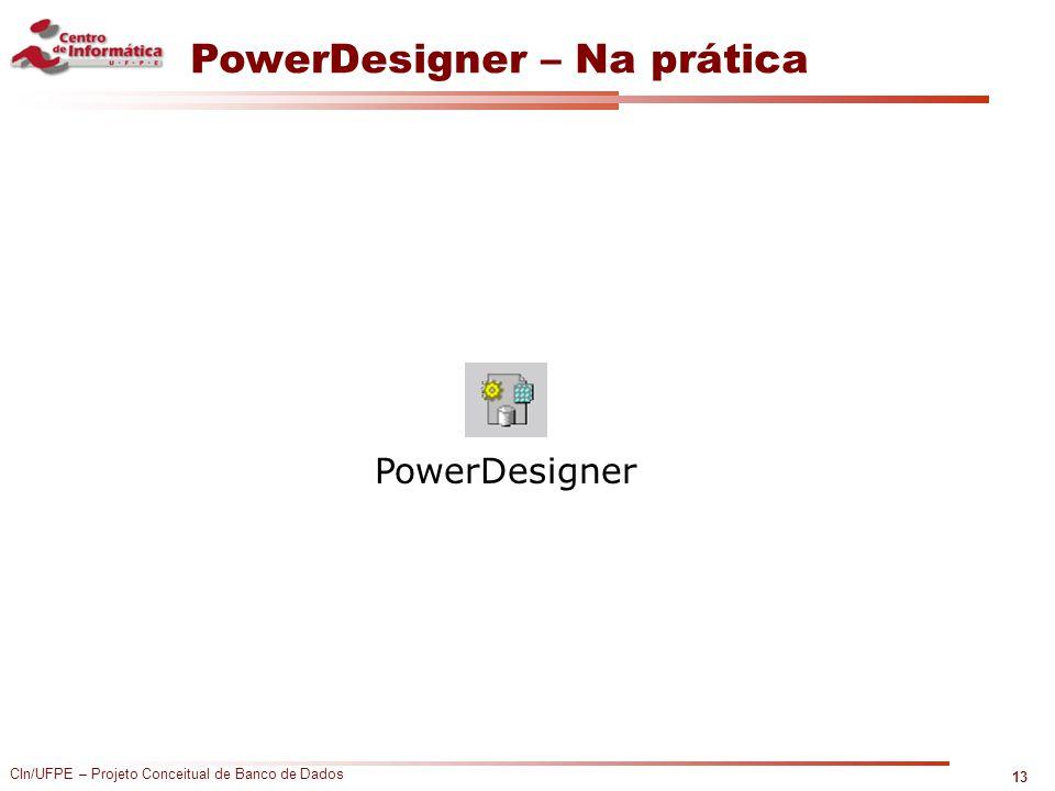 CIn/UFPE – Projeto Conceitual de Banco de Dados PowerDesigner – Na prática 13 PowerDesigner