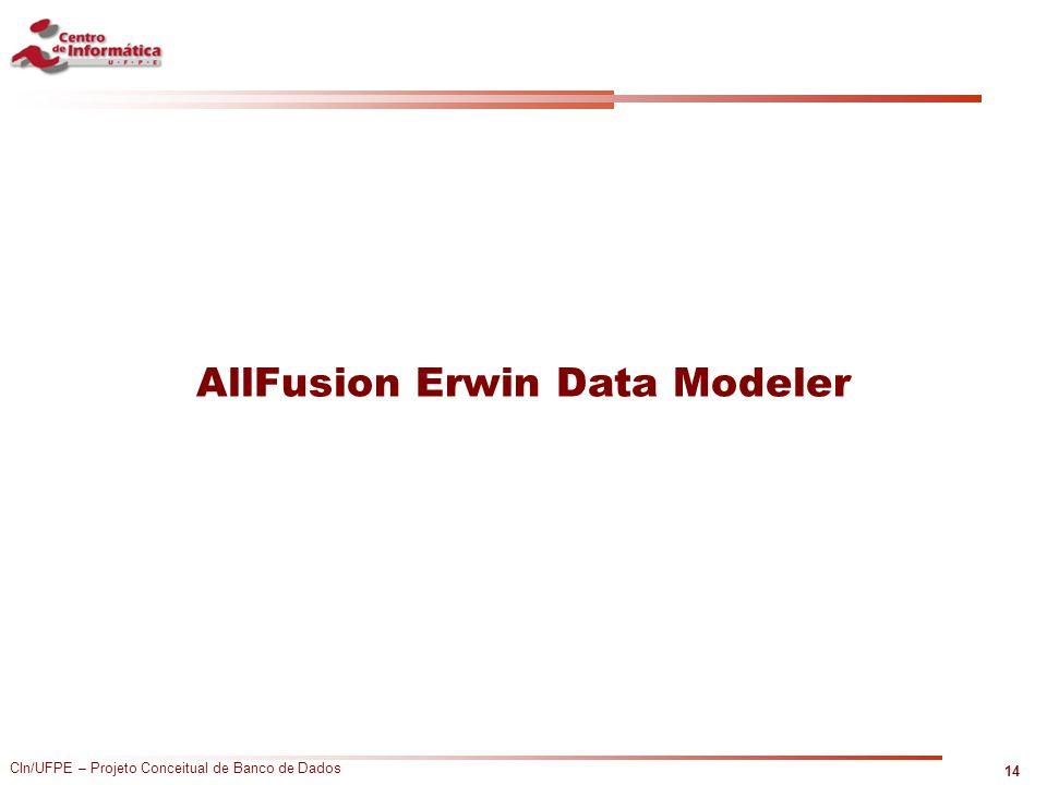 CIn/UFPE – Projeto Conceitual de Banco de Dados AllFusion Erwin Data Modeler 14