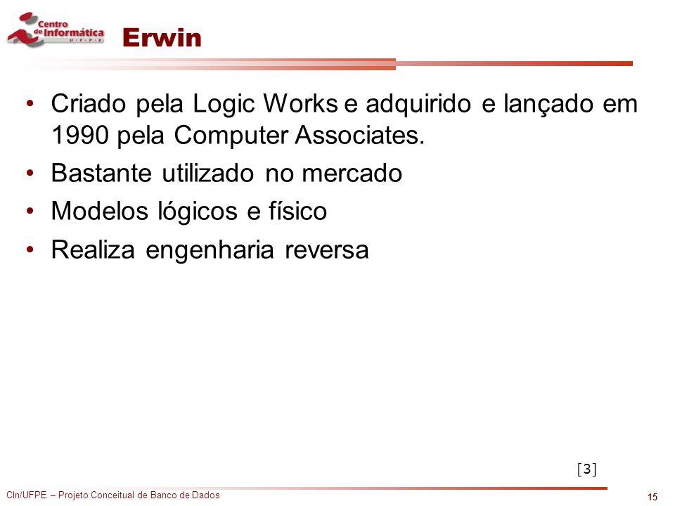 CIn/UFPE – Projeto Conceitual de Banco de Dados Erwin Criado pela Logic Works e adquirido e lançado em 1990 pela Computer Associates. Bastante utiliza