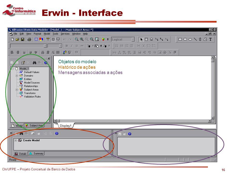 CIn/UFPE – Projeto Conceitual de Banco de Dados Erwin - Interface 16 Objetos do modelo Histórico de ações Mensagens associadas a ações