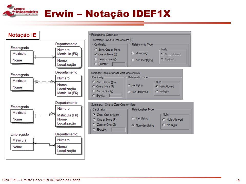 CIn/UFPE – Projeto Conceitual de Banco de Dados Erwin – Notação IDEF1X 19 Notação IE