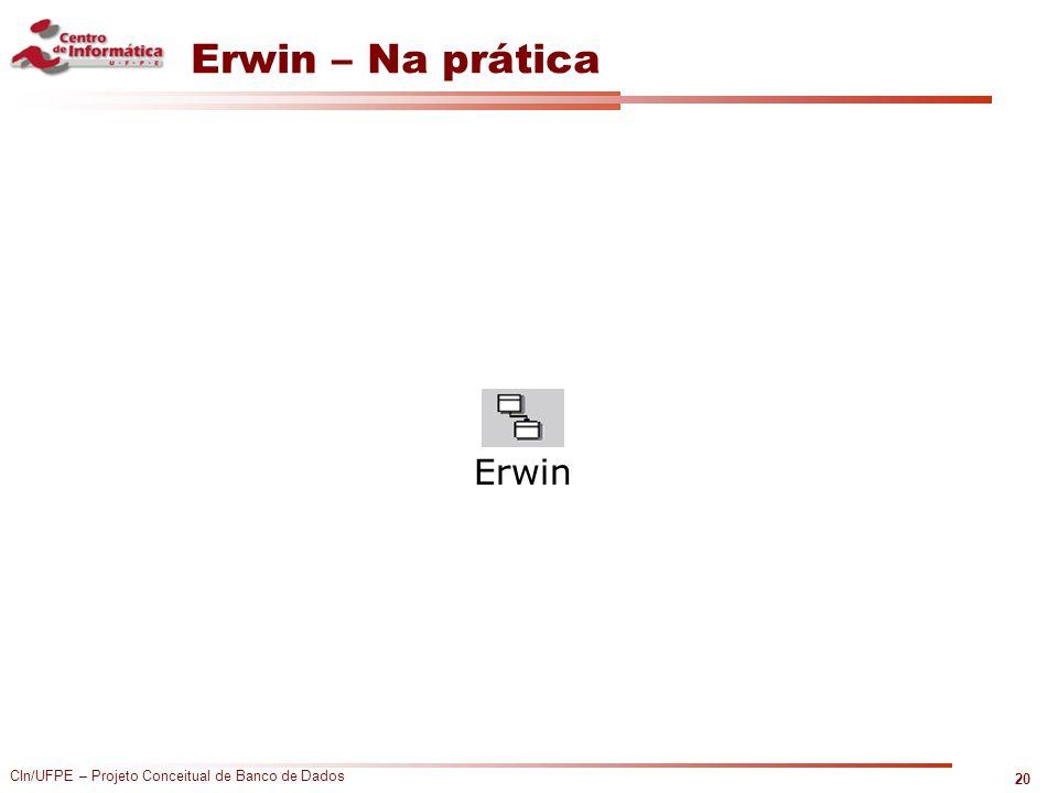 CIn/UFPE – Projeto Conceitual de Banco de Dados Erwin – Na prática 20 Erwin